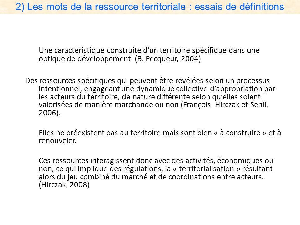 2) Les mots de la ressource territoriale : essais de définitions