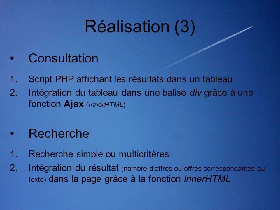 Réalisation (3) Consultation Recherche