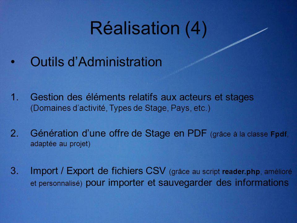 Réalisation (4) Outils d'Administration