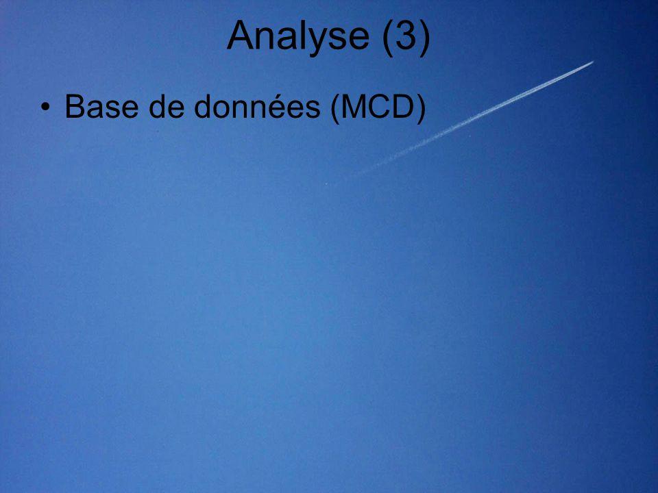 Analyse (3) Base de données (MCD)