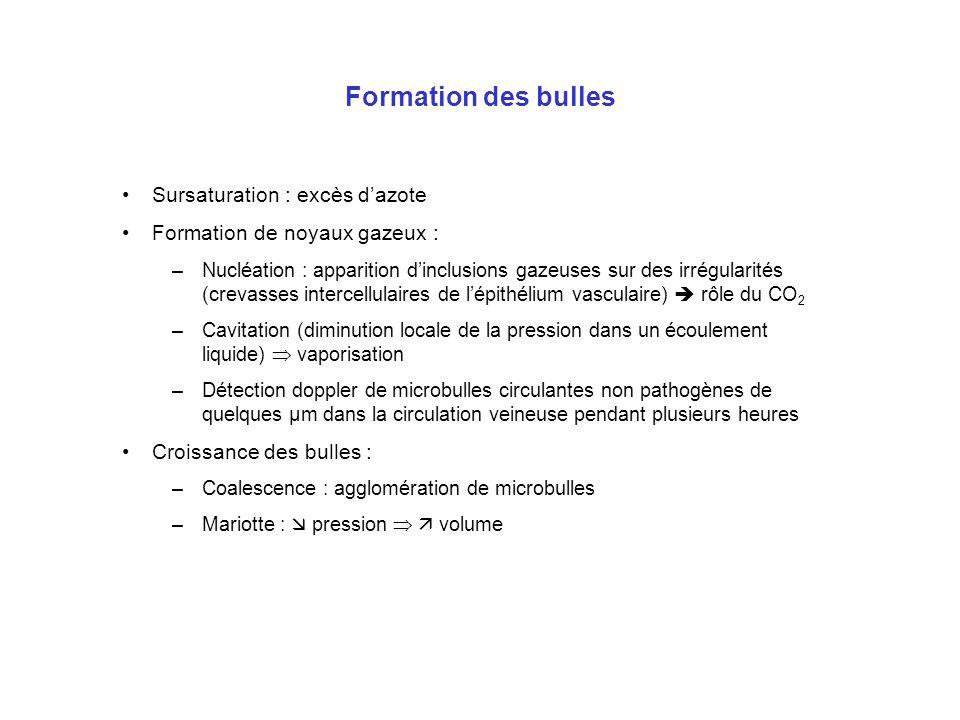 Formation des bulles Sursaturation : excès d'azote