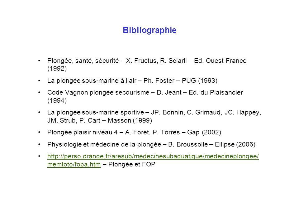 Bibliographie Plongée, santé, sécurité – X. Fructus, R. Sciarli – Ed. Ouest-France (1992) La plongée sous-marine à l'air – Ph. Foster – PUG (1993)