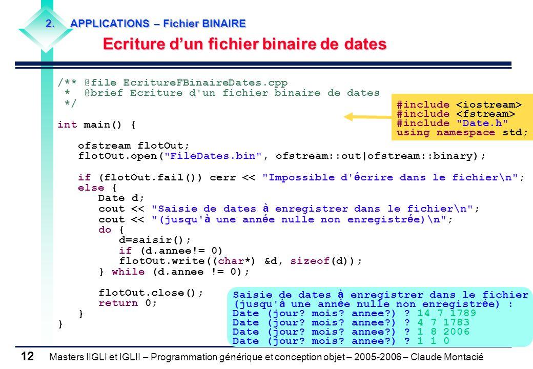 Ecriture d'un fichier binaire de dates