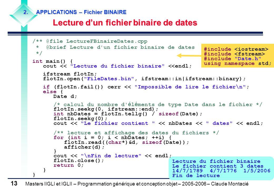 Lecture d'un fichier binaire de dates