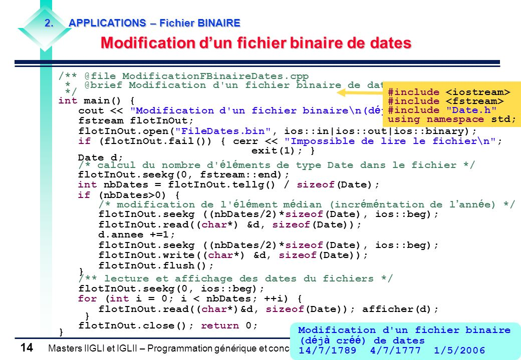 Modification d'un fichier binaire de dates