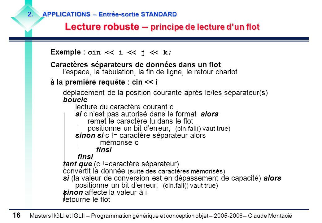 Lecture robuste – principe de lecture d'un flot (1/2)