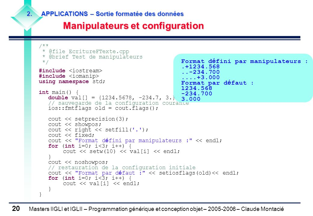 Manipulateurs et configuration