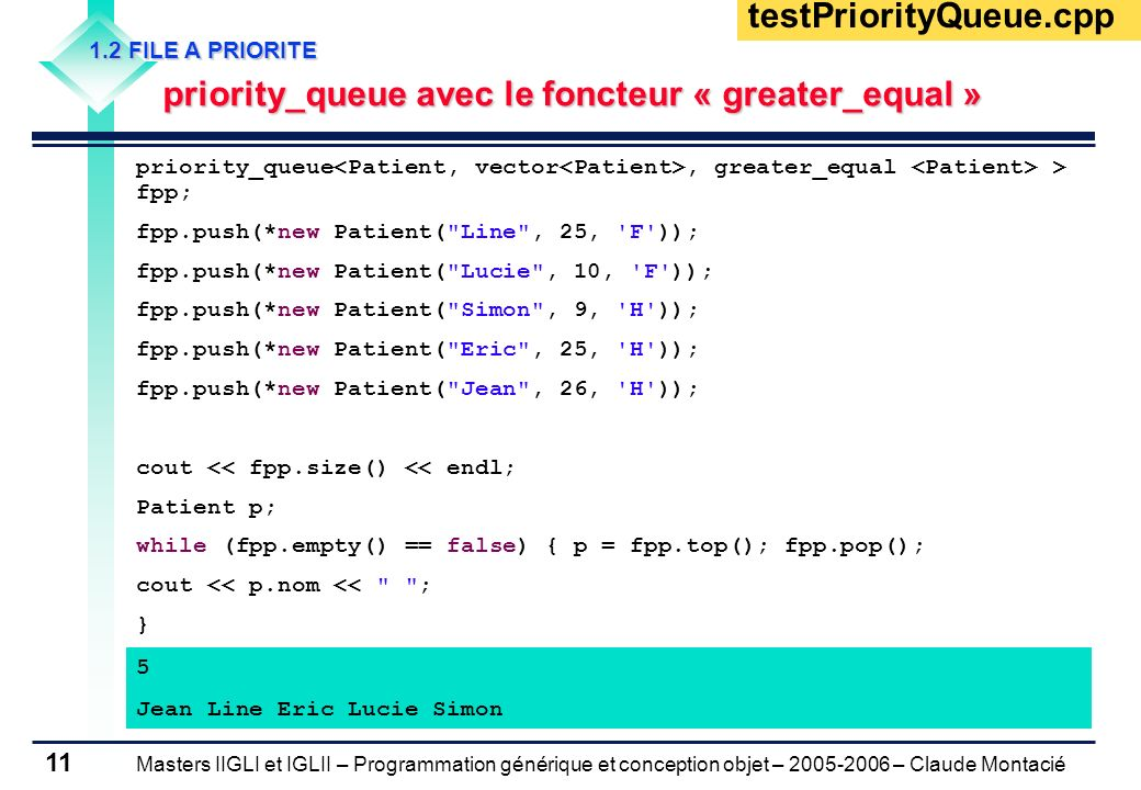 testPriorityQueue.cpp 1.2 FILE A PRIORITE. priority_queue avec le foncteur « greater_equal »