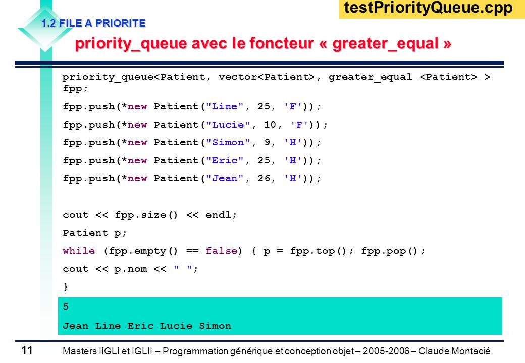 testPriorityQueue.cpp1.2 FILE A PRIORITE. priority_queue avec le foncteur « greater_equal »