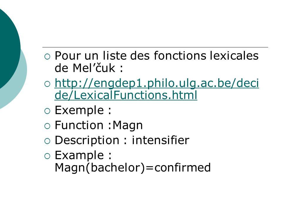 Pour un liste des fonctions lexicales de Mel'čuk :
