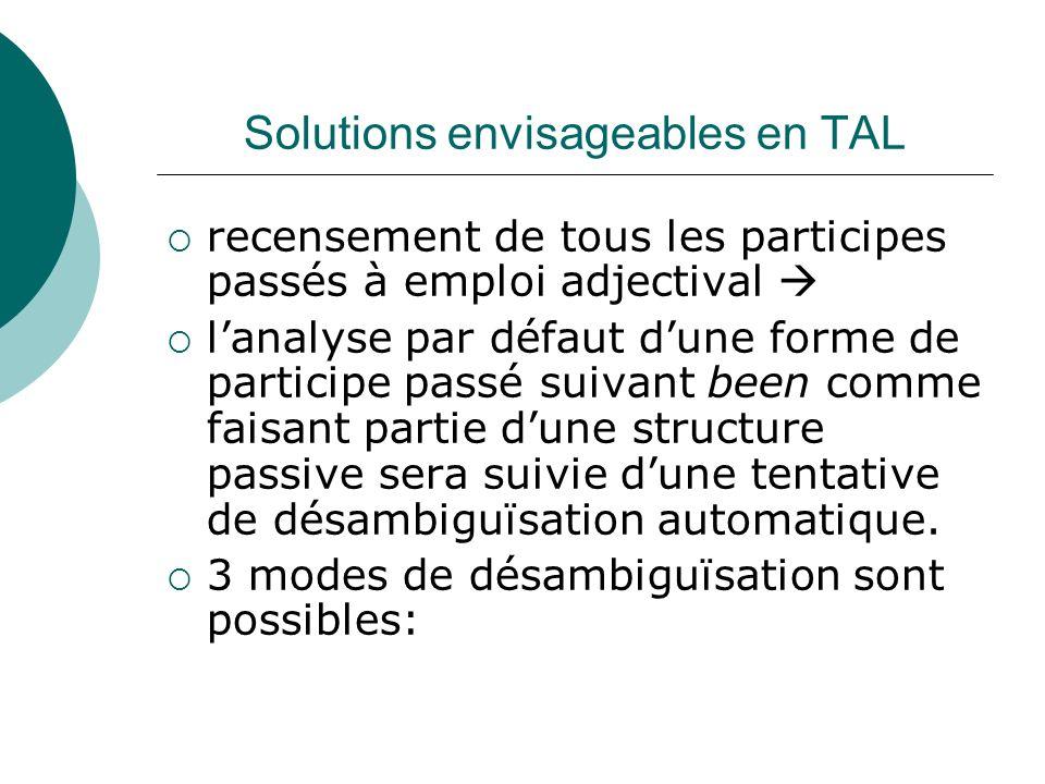 Solutions envisageables en TAL