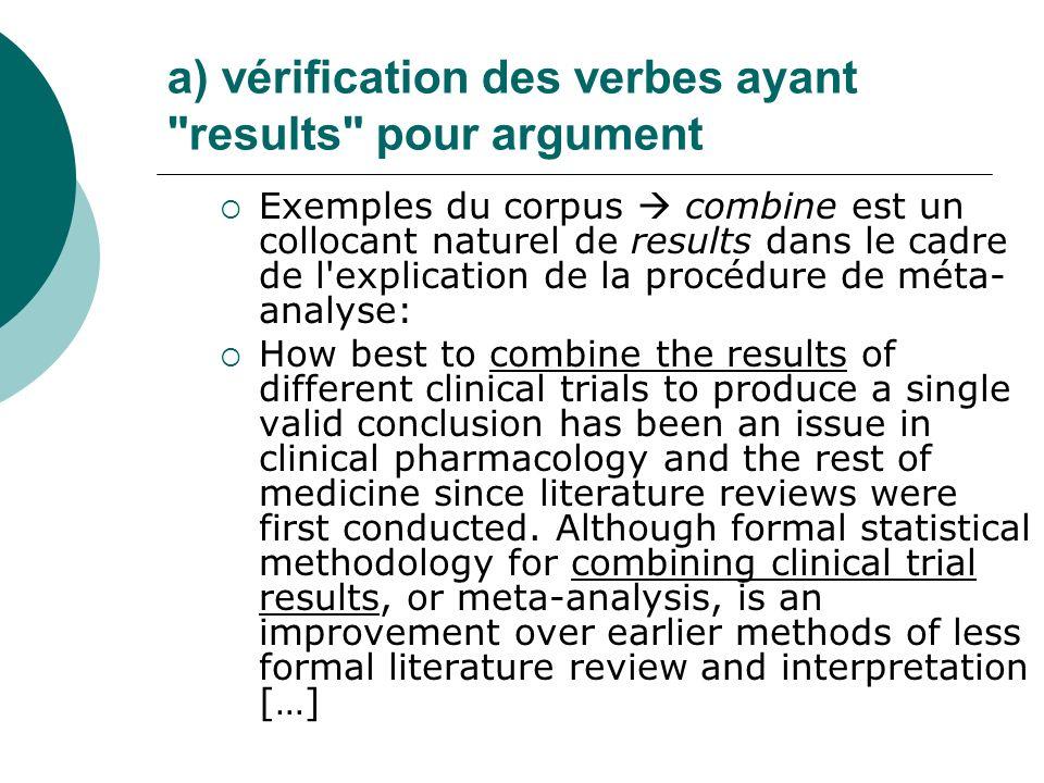 a) vérification des verbes ayant results pour argument