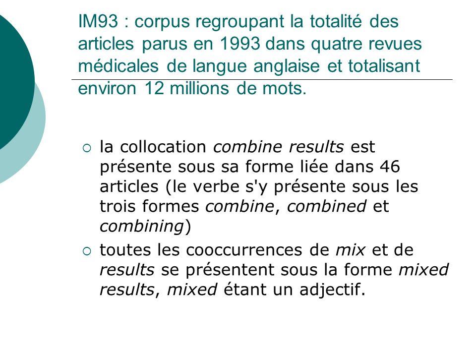 IM93 : corpus regroupant la totalité des articles parus en 1993 dans quatre revues médicales de langue anglaise et totalisant environ 12 millions de mots.