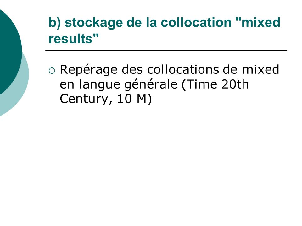 b) stockage de la collocation mixed results
