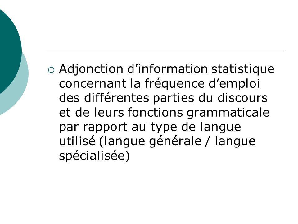 Adjonction d'information statistique concernant la fréquence d'emploi des différentes parties du discours et de leurs fonctions grammaticale par rapport au type de langue utilisé (langue générale / langue spécialisée)