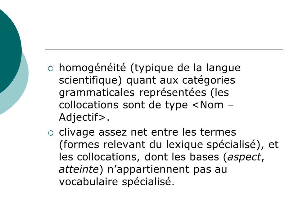 homogénéité (typique de la langue scientifique) quant aux catégories grammaticales représentées (les collocations sont de type <Nom – Adjectif>.