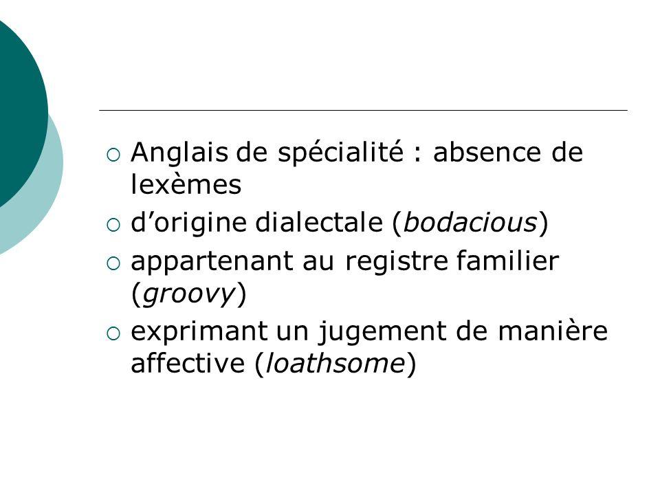 Anglais de spécialité : absence de lexèmes