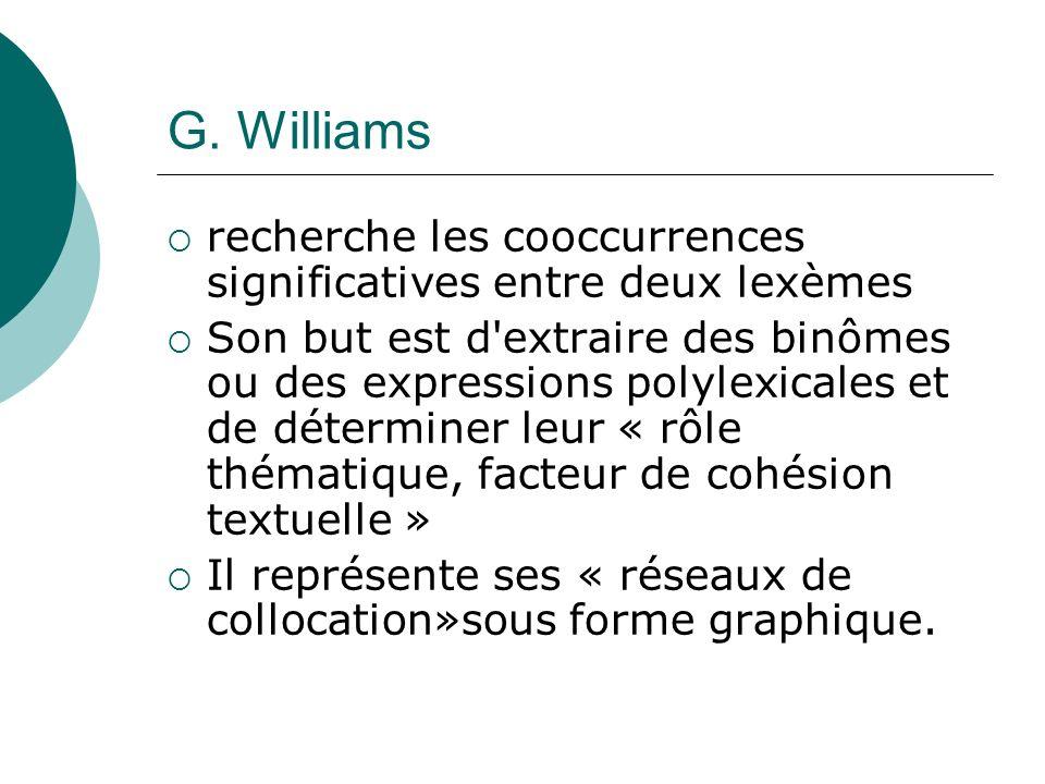 G. Williams recherche les cooccurrences significatives entre deux lexèmes.