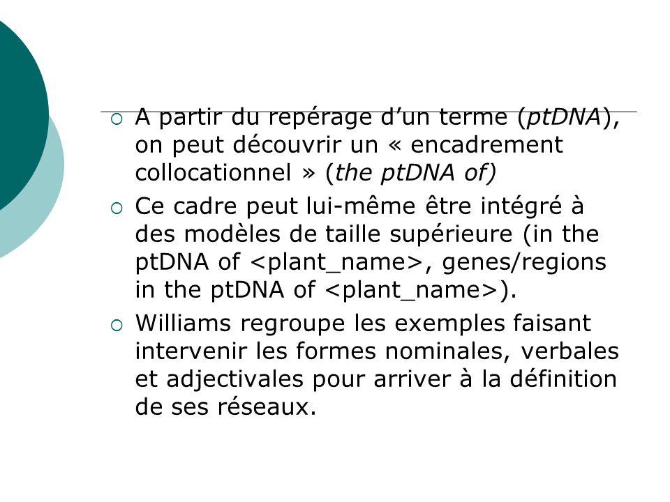 A partir du repérage d'un terme (ptDNA), on peut découvrir un « encadrement collocationnel » (the ptDNA of)
