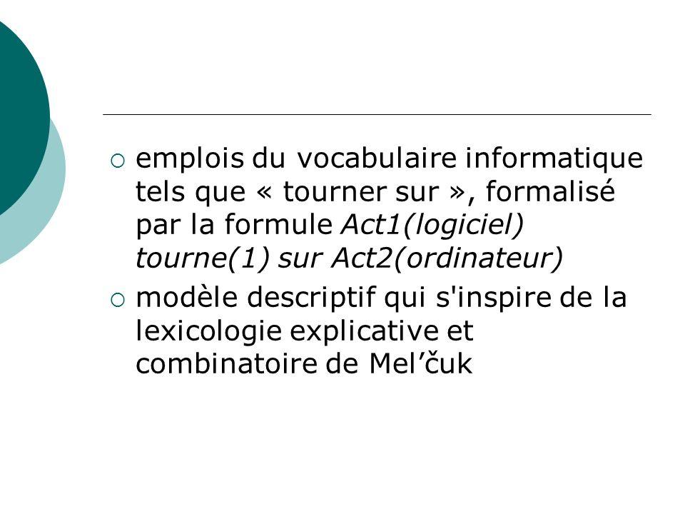 emplois du vocabulaire informatique tels que « tourner sur », formalisé par la formule Act1(logiciel) tourne(1) sur Act2(ordinateur)