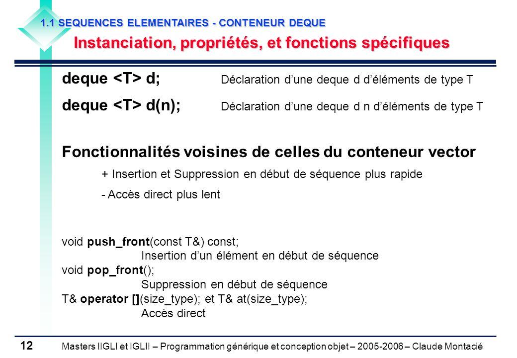 deque <T> d; Déclaration d'une deque d d'éléments de type T
