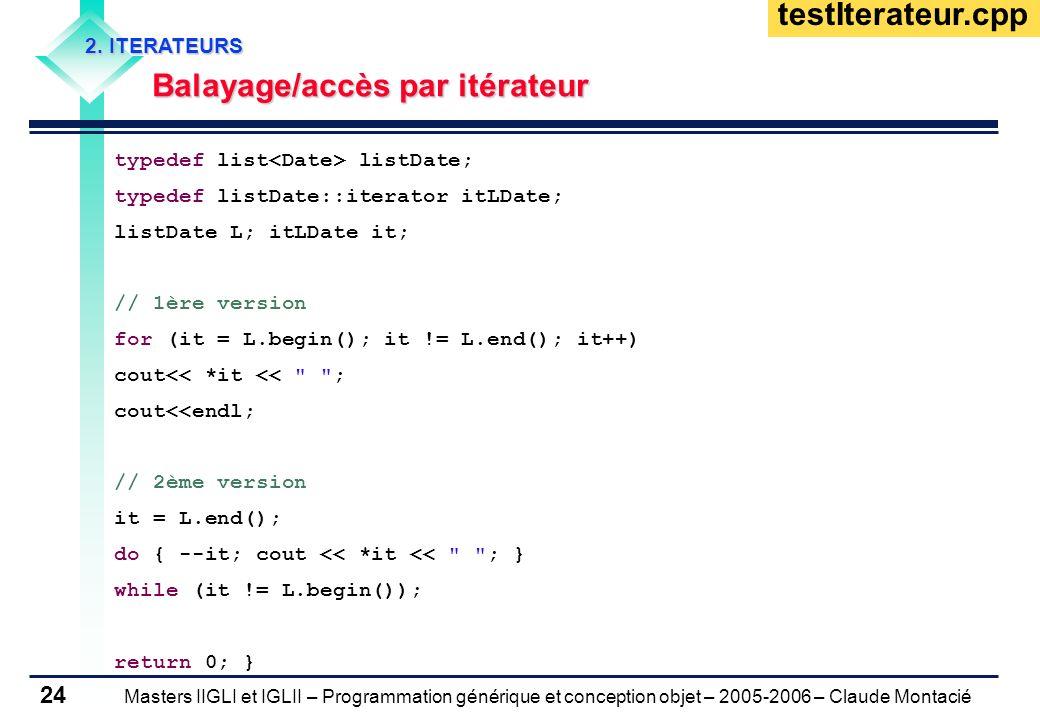 testIterateur.cpp Balayage/accès par itérateur 2. ITERATEURS