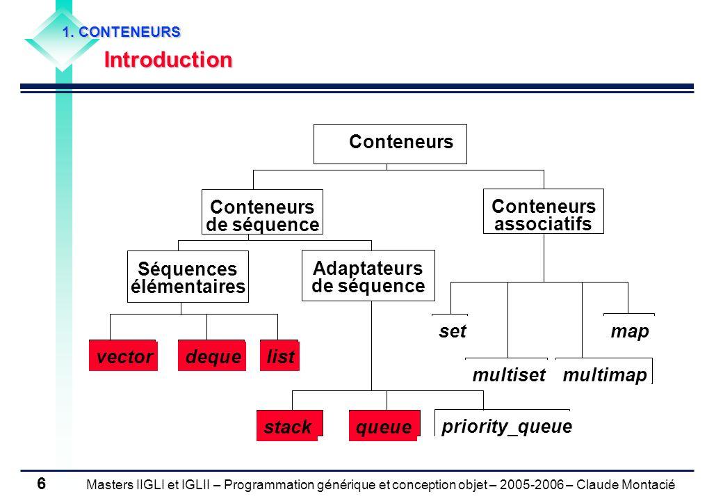 Conteneurs de séquence Conteneurs associatifs