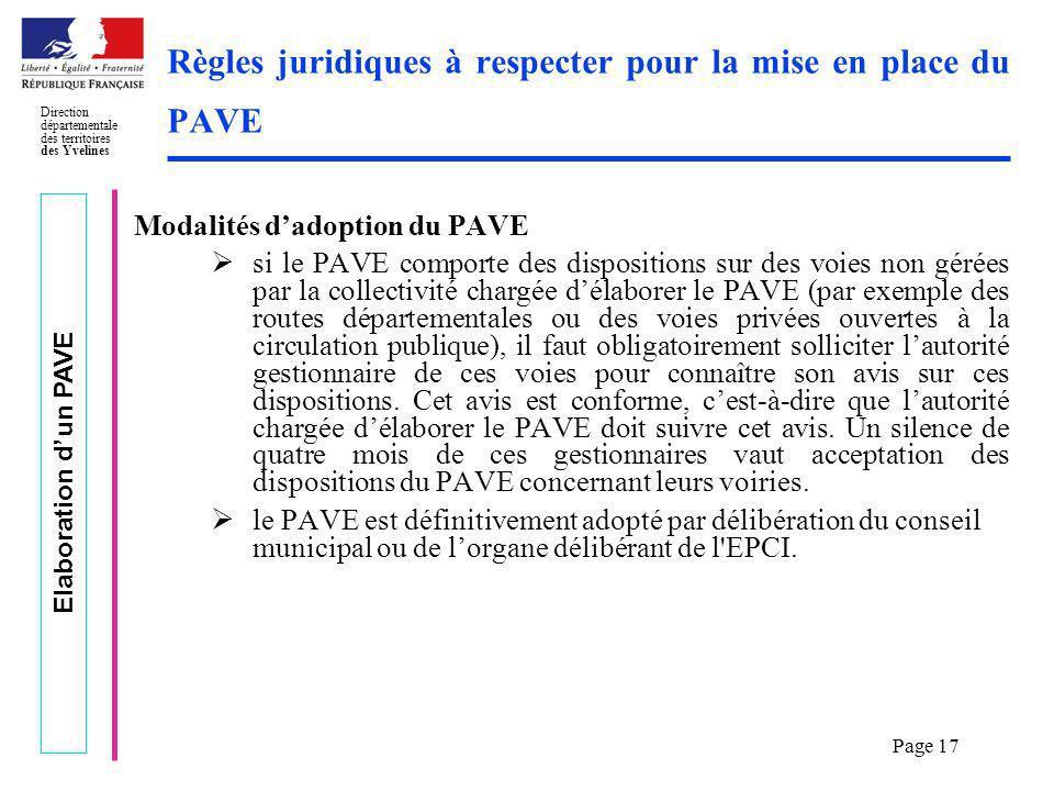 Règles juridiques à respecter pour la mise en place du PAVE