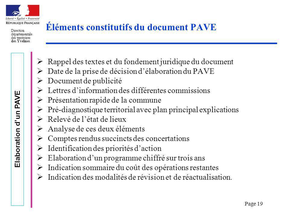 Éléments constitutifs du document PAVE