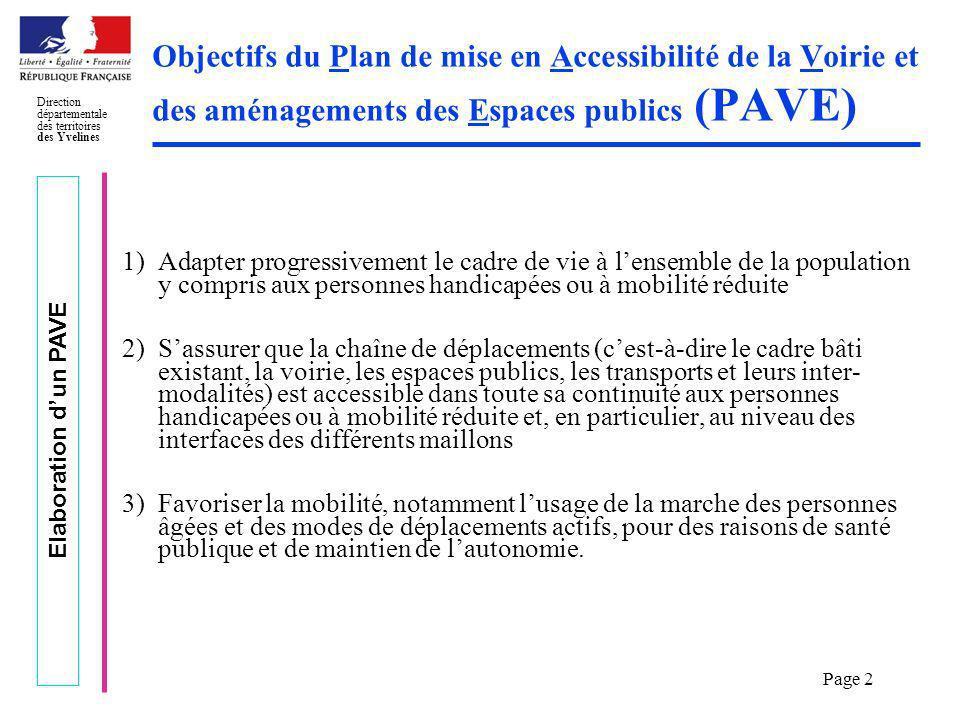 Objectifs du Plan de mise en Accessibilité de la Voirie et des aménagements des Espaces publics (PAVE)