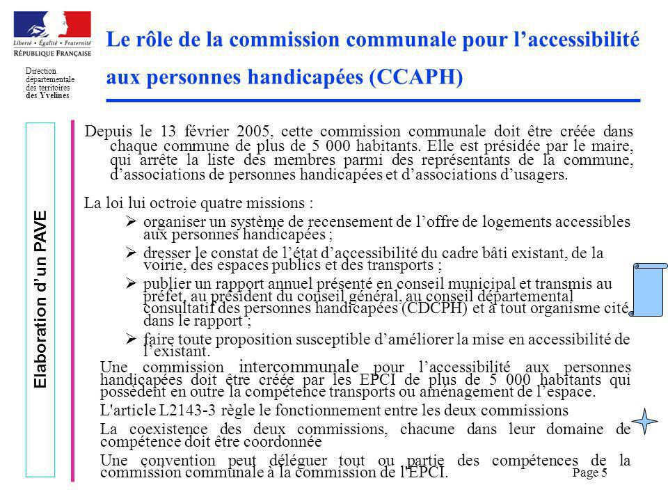Le rôle de la commission communale pour l'accessibilité aux personnes handicapées (CCAPH)