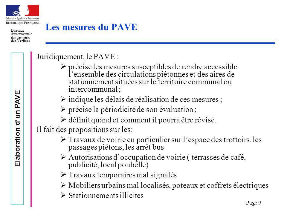 Les mesures du PAVE Juridiquement, le PAVE :