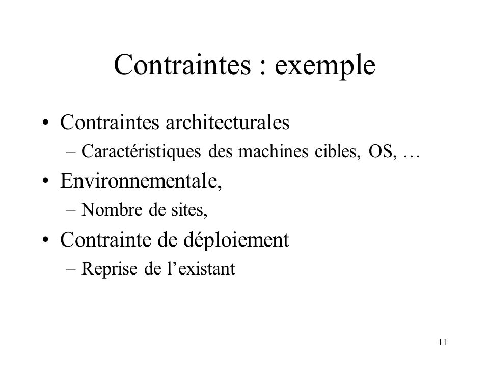 Contraintes : exemple Contraintes architecturales Environnementale,