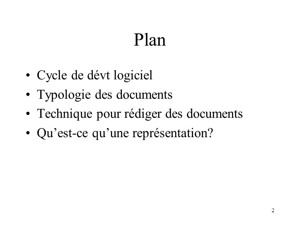 Plan Cycle de dévt logiciel Typologie des documents