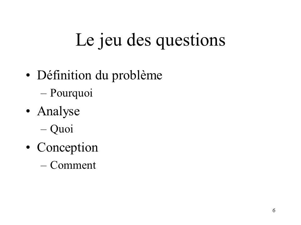 Le jeu des questions Définition du problème Analyse Conception