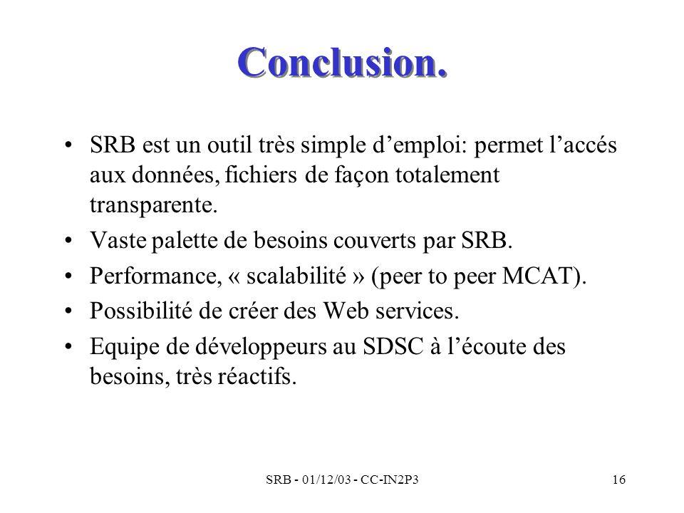 Conclusion. SRB est un outil très simple d'emploi: permet l'accés aux données, fichiers de façon totalement transparente.