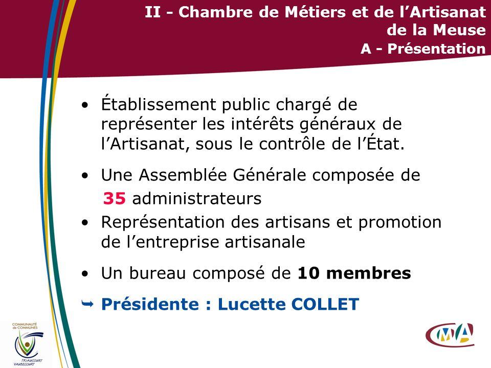 II - Chambre de Métiers et de l'Artisanat de la Meuse A - Présentation