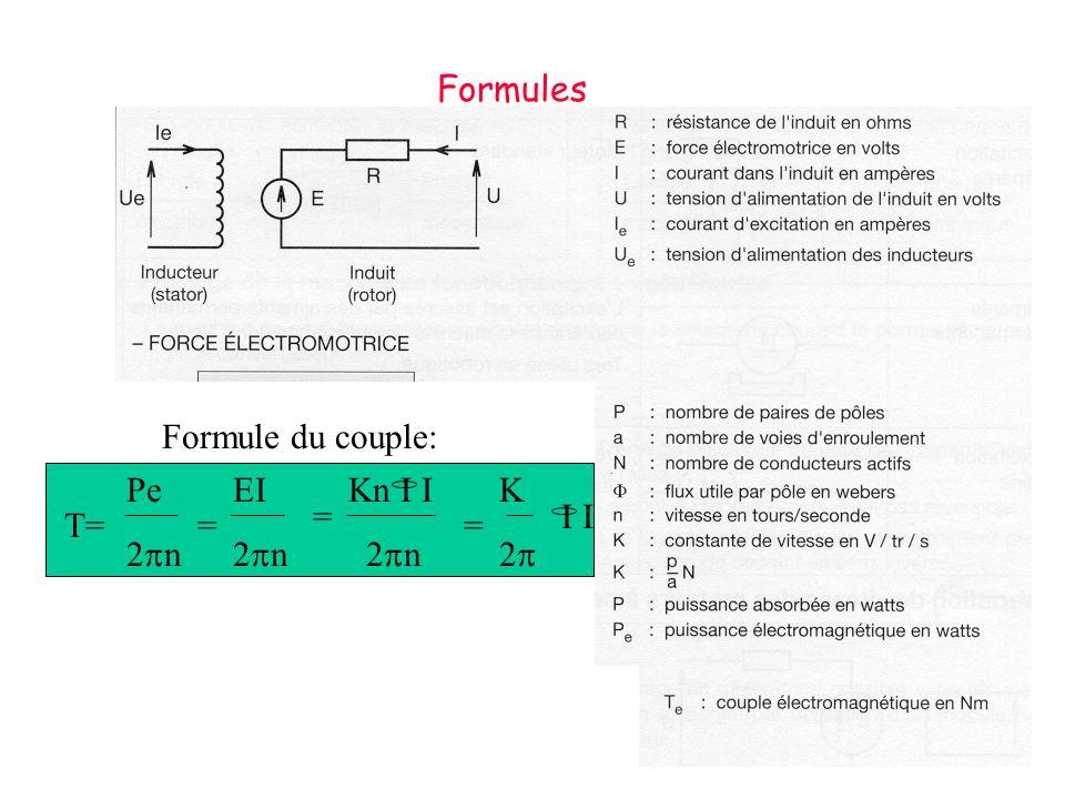 Formules Formule du couple: Pe 2pn EI 2pn Kn I I 2pn K 2p I I = T= = =