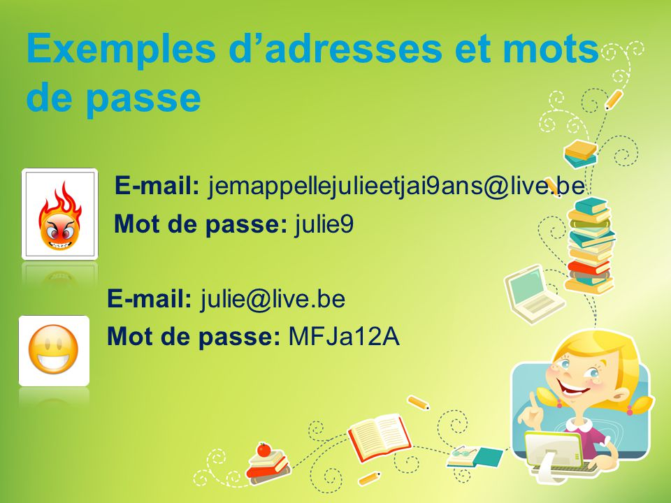 Exemples d'adresses et mots de passe