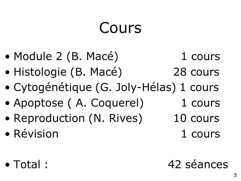 Cours Module 2 (B. Macé) 1 cours Histologie (B. Macé) 28 cours