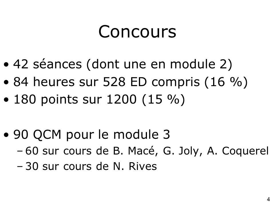 Concours 42 séances (dont une en module 2)
