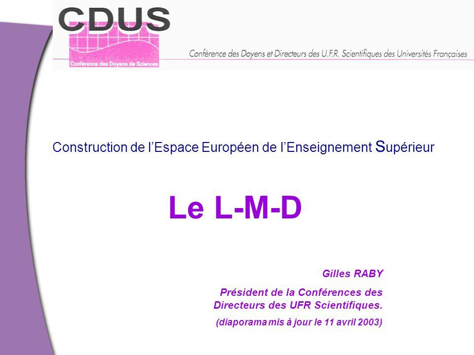 Le L-M-D Construction de l'Espace Européen de l'Enseignement Supérieur
