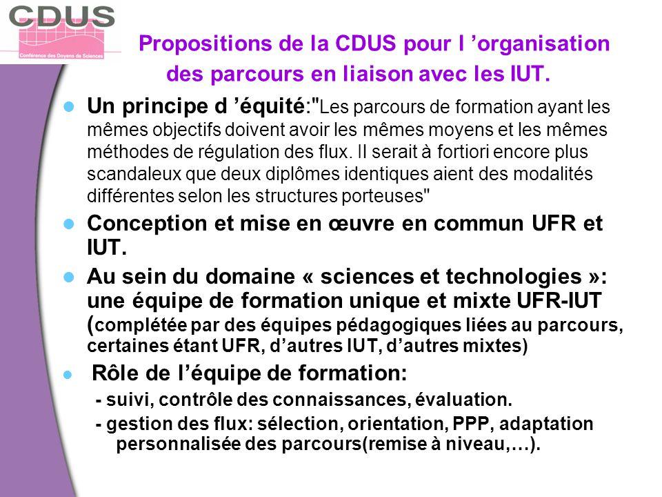 Conception et mise en œuvre en commun UFR et IUT.
