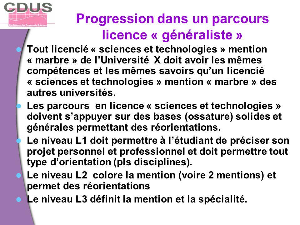 Progression dans un parcours licence « généraliste »