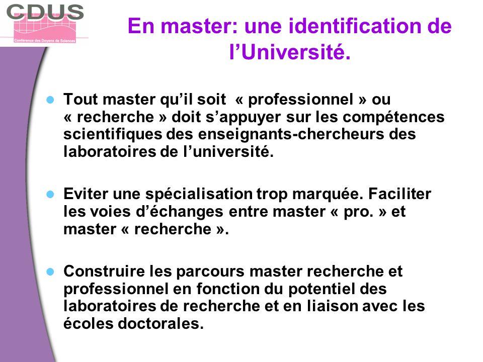 En master: une identification de l'Université.