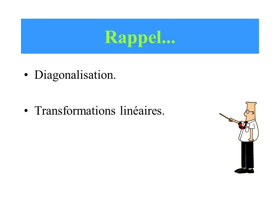 Rappel... Diagonalisation. Transformations linéaires.