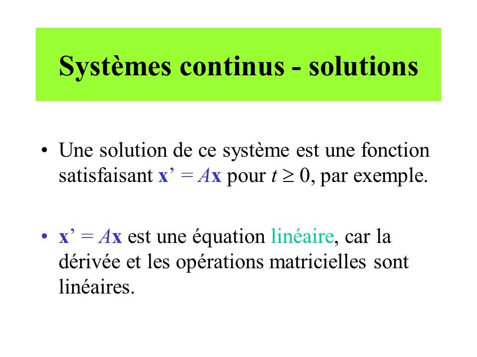 Systèmes continus - solutions