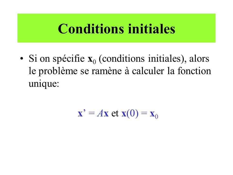 Conditions initiales Si on spécifie x0 (conditions initiales), alors le problème se ramène à calculer la fonction unique: