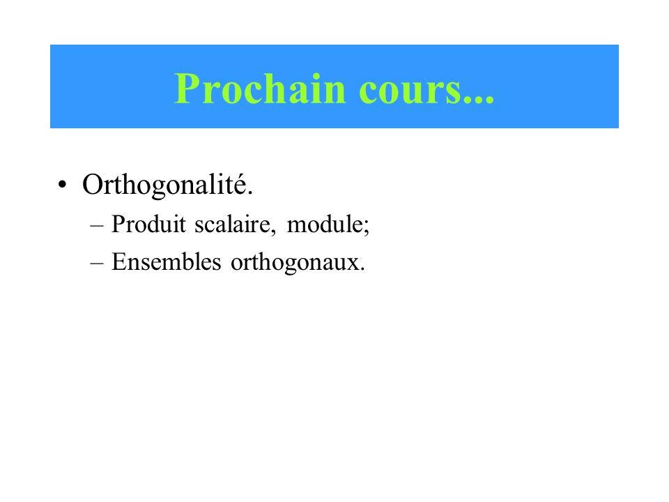 Prochain cours... Orthogonalité. Produit scalaire, module;