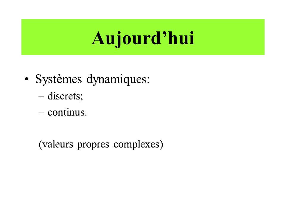 Aujourd'hui Systèmes dynamiques: discrets; continus.